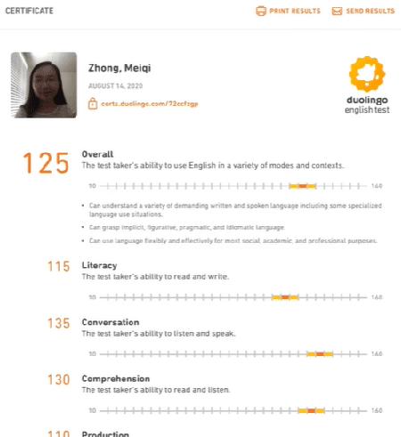 Duolingo result sample